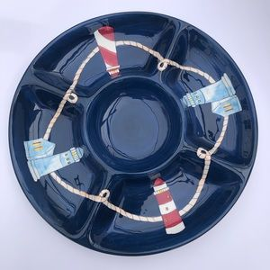 KIC Handpainted Light House Serving Platter